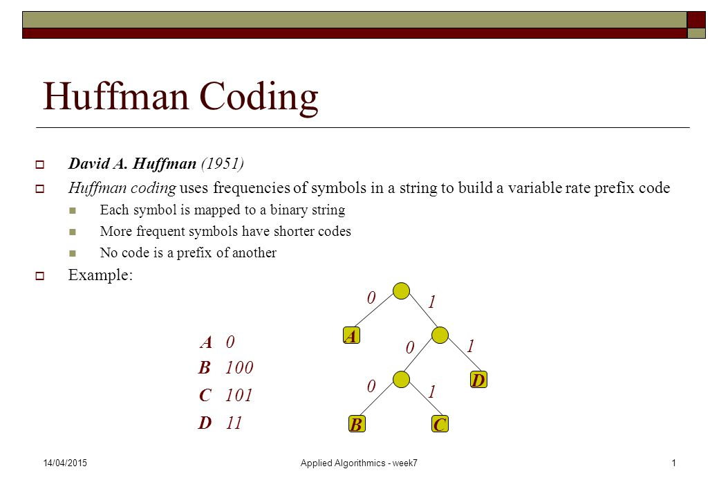 14/04/2015Applied Algorithmics - week71 Huffman Coding  David A. Huffman (1951)  Huffman coding uses frequencies of symbols in a string to build a v