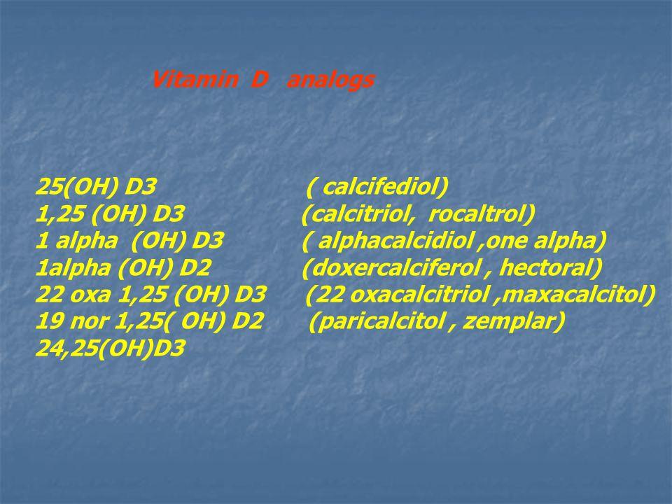 Vitamin D analogs 25(OH) D3 ( calcifediol) 1,25 (OH) D3 (calcitriol, rocaltrol) 1 alpha (OH) D3 ( alphacalcidiol,one alpha) 1alpha (OH) D2 (doxercalciferol, hectoral) 22 oxa 1,25 (OH) D3 (22 oxacalcitriol,maxacalcitol) 19 nor 1,25( OH) D2 (paricalcitol, zemplar) 24,25(OH)D3