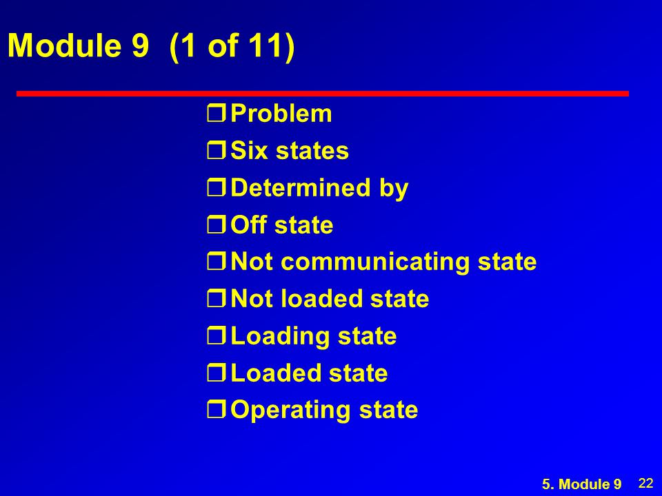 22 Module 9 (1 of 11) rProblem rSix states rDetermined by rOff state rNot communicating state rNot loaded state rLoading state rLoaded state rOperating state 5.