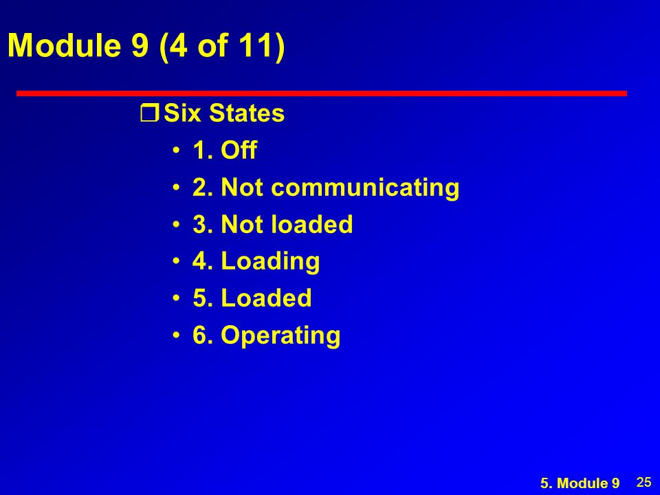 25 Module 9 (4 of 11) rSix States 1. Off 2. Not communicating 3. Not loaded 4. Loading 5. Loaded 6. Operating 5. Module 9