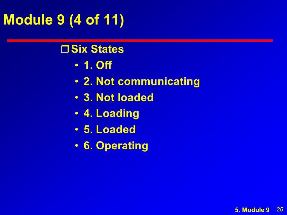 25 Module 9 (4 of 11) rSix States 1. Off 2. Not communicating 3.