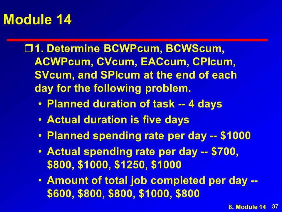 37 Module 14 r1. Determine BCWPcum, BCWScum, ACWPcum, CVcum, EACcum, CPIcum, SVcum, and SPIcum at the end of each day for the following problem. Plann