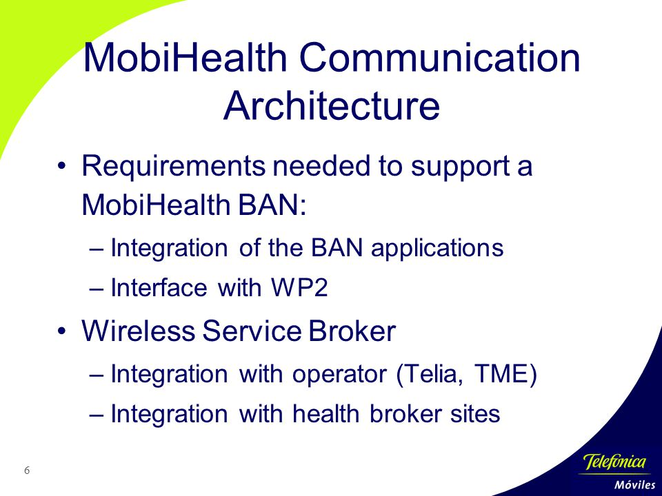 6 MobiHealth Communication Architecture Requirements needed to support a MobiHealth BAN: –Integration of the BAN applications –Interface with WP2 Wireless Service Broker –Integration with operator (Telia, TME) –Integration with health broker sites