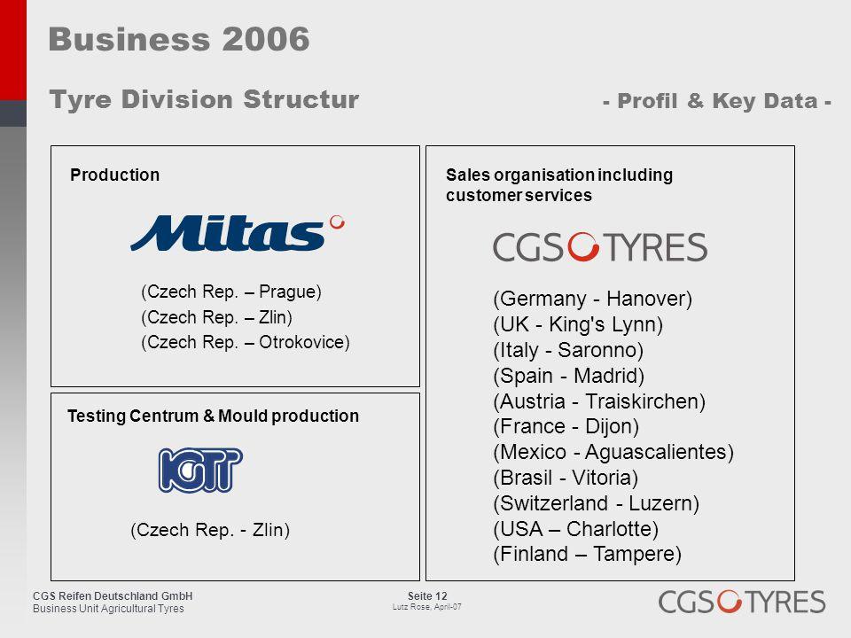 CGS Reifen Deutschland GmbH Business Unit Agricultural Tyres Seite 12 Lutz Rose, April-07 Business 2006 Tyre Division Structur - Profil & Key Data - (