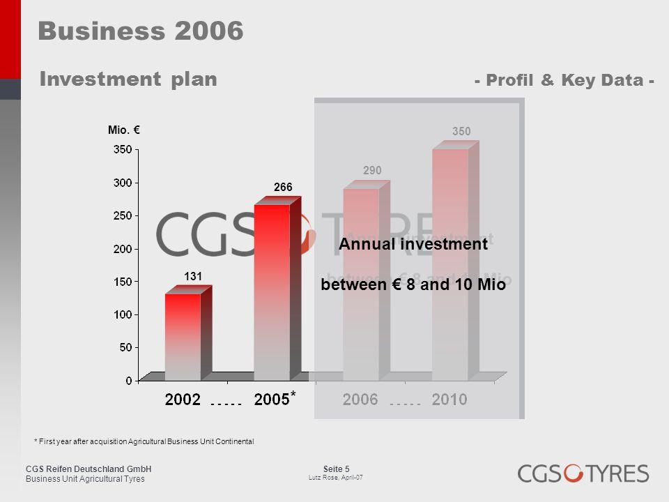 CGS Reifen Deutschland GmbH Business Unit Agricultural Tyres Seite 5 Lutz Rose, April-07 Business 2006 Investment plan - Profil & Key Data - Mio. € *