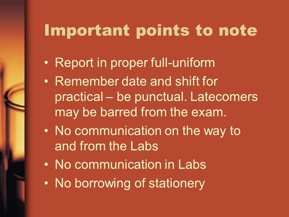 Important points to note You may request for help if needed (A report will be submitted).