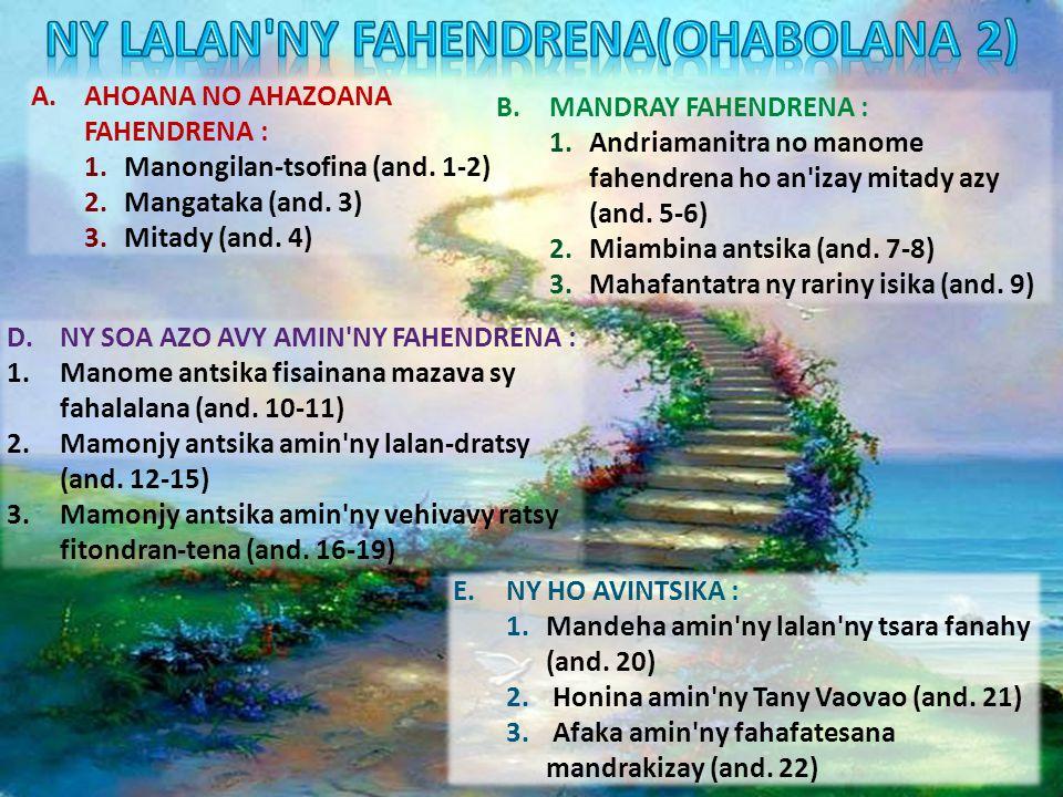 A.AHOANA NO AHAZOANA FAHENDRENA : 1.Manongilan-tsofina (and.