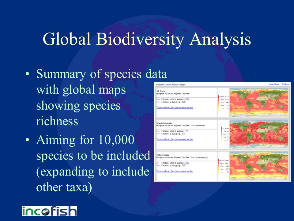 Global Biodiversity Analysis Summary of species data with global maps showing species richness Aiming for 10,000 species to be included (expanding to include other taxa)