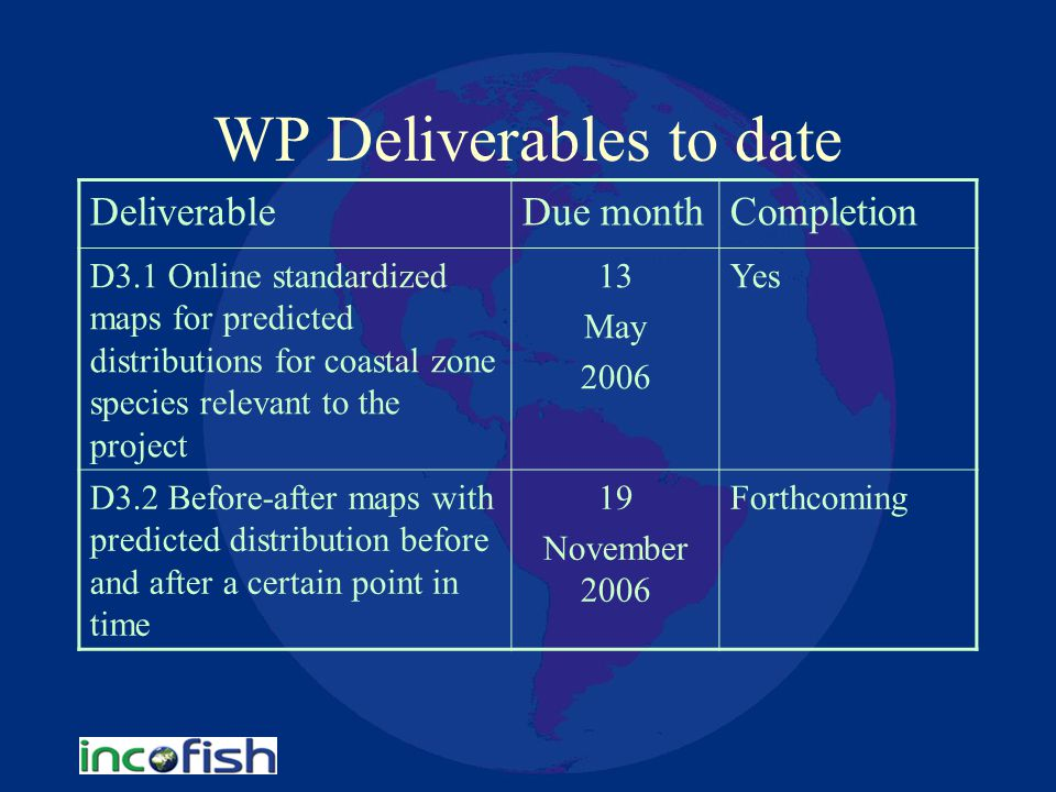 WP Deliverables to date DeliverableDue monthCompletion D3.1 Online standardized maps for predicted distributions for coastal zone species relevant to the project 13 May 2006 Yes D3.2 Before-after maps with predicted distribution before and after a certain point in time 19 November 2006 Forthcoming