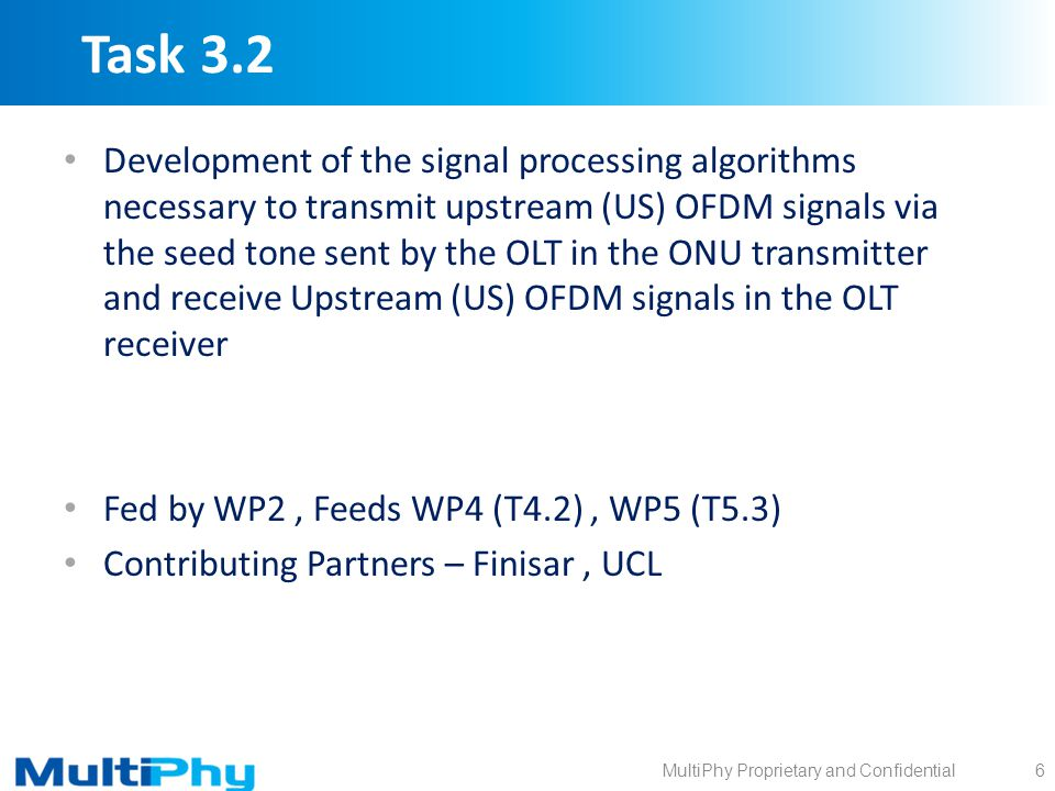 MultiPhy Proprietary and Confidential Task 3.2 Development of the signal processing algorithms necessary to transmit upstream (US) OFDM signals via th