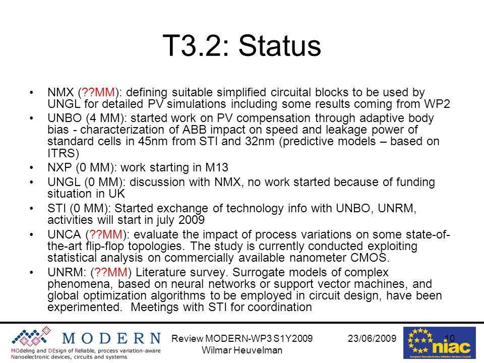 23/06/2009Review MODERN-WP3 S1Y2009 Wilmar Heuvelman 10 T3.2: Status NMX ( MM): defining suitable simplified circuital blocks to be used by UNGL for detailed PV simulations including some results coming from WP2 UNBO (4 MM): started work on PV compensation through adaptive body bias - characterization of ABB impact on speed and leakage power of standard cells in 45nm from STI and 32nm (predictive models – based on ITRS) NXP (0 MM): work starting in M13 UNGL (0 MM): discussion with NMX, no work started because of funding situation in UK STI (0 MM): Started exchange of technology info with UNBO, UNRM, activities will start in july 2009 UNCA ( MM): evaluate the impact of process variations on some state-of- the-art flip-flop topologies.