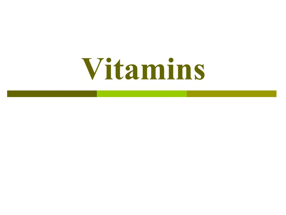 Definitions:  Vitamins are organic compounds required by the body in trace amounts to perform specific function, and can not be synthesized by humans, or can not be synthesized in adequate (sufficient) quantities to meet needs.