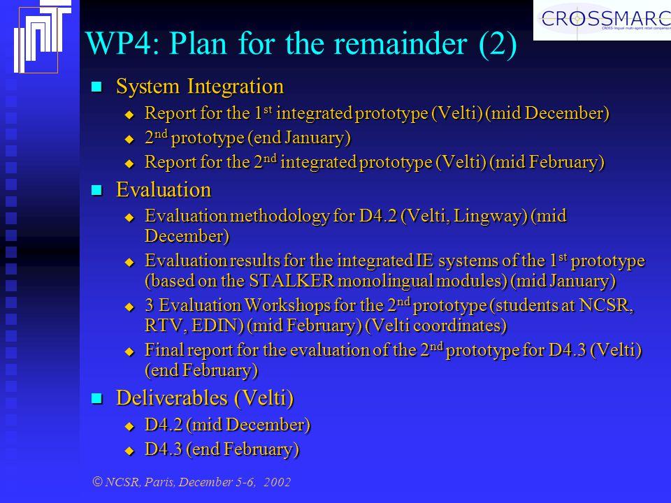 © NCSR, Paris, December 5-6, 2002 WP4: Plan for the remainder (2) System Integration System Integration  Report for the 1 st integrated prototype (Velti) (mid December)  2 nd prototype (end January)  Report for the 2 nd integrated prototype (Velti) (mid February) Evaluation Evaluation  Evaluation methodology for D4.2 (Velti, Lingway) (mid December)  Evaluation results for the integrated IE systems of the 1 st prototype (based on the STALKER monolingual modules) (mid January)  3 Evaluation Workshops for the 2 nd prototype (students at NCSR, RTV, EDIN) (mid February) (Velti coordinates)  Final report for the evaluation of the 2 nd prototype for D4.3 (Velti) (end February) Deliverables (Velti) Deliverables (Velti)  D4.2 (mid December)  D4.3 (end February)