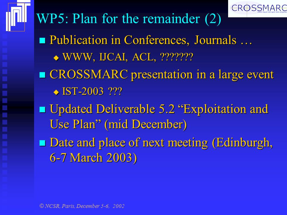 © NCSR, Paris, December 5-6, 2002 WP5: Plan for the remainder (2) Publication in Conferences, Journals … Publication in Conferences, Journals …  WWW, IJCAI, ACL, .