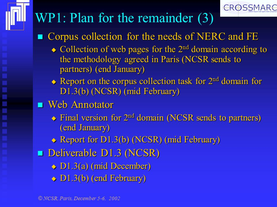 © NCSR, Paris, December 5-6, 2002 WP1: Plan for the remainder (3) Corpus collection for the needs of NERC and FE Corpus collection for the needs of NERC and FE  Collection of web pages for the 2 nd domain according to the methodology agreed in Paris (NCSR sends to partners) (end January)  Report on the corpus collection task for 2 nd domain for D1.3(b) (NCSR) (mid February) Web Annotator Web Annotator  Final version for 2 nd domain (NCSR sends to partners) (end January)  Report for D1.3(b) (NCSR) (mid February) Deliverable D1.3 (NCSR) Deliverable D1.3 (NCSR)  D1.3(a) (mid December)  D1.3(b) (end February)