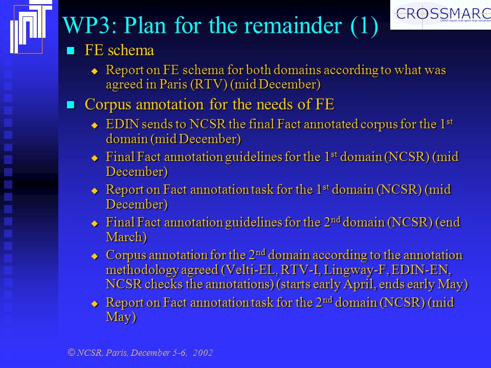 © NCSR, Paris, December 5-6, 2002 WP3: Plan for the remainder (1) FE schema FE schema  Report on FE schema for both domains according to what was agreed in Paris (RTV) (mid December) Corpus annotation for the needs of FE Corpus annotation for the needs of FE  EDIN sends to NCSR the final Fact annotated corpus for the 1 st domain (mid December)  Final Fact annotation guidelines for the 1 st domain (NCSR) (mid December)  Report on Fact annotation task for the 1 st domain (NCSR) (mid December)  Final Fact annotation guidelines for the 2 nd domain (NCSR) (end March)  Corpus annotation for the 2 nd domain according to the annotation methodology agreed (Velti-EL, RTV-I, Lingway-F, EDIN-EN, NCSR checks the annotations) (starts early April, ends early May)  Report on Fact annotation task for the 2 nd domain (NCSR) (mid May)