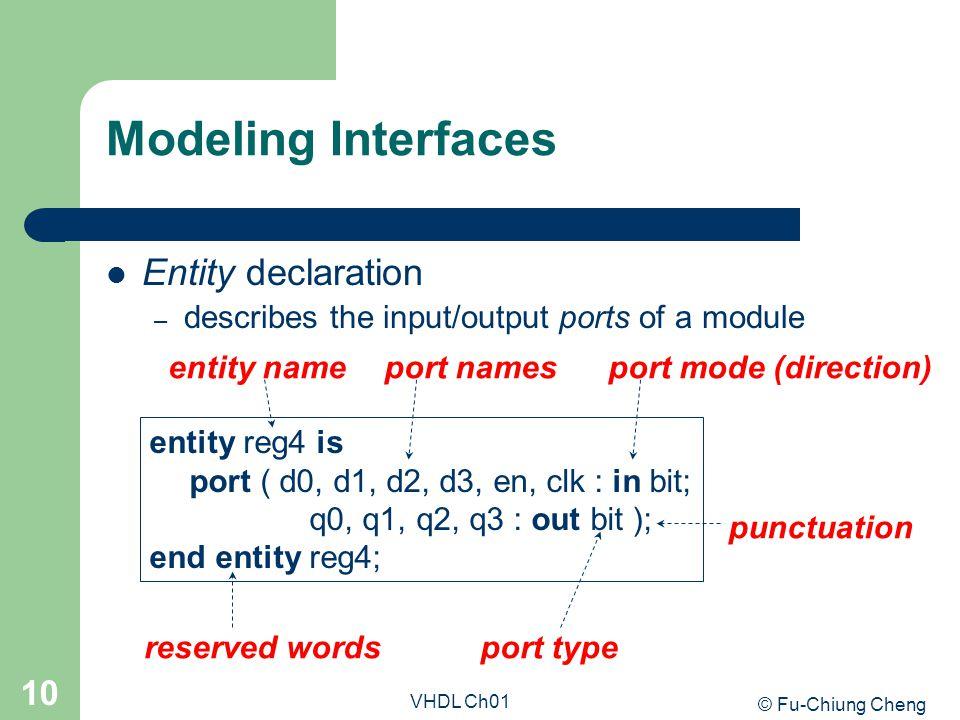 © Fu-Chiung Cheng VHDL Ch01 10 Modeling Interfaces Entity declaration – describes the input/output ports of a module entity reg4 is port ( d0, d1, d2,