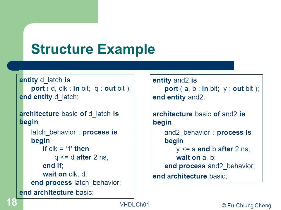 © Fu-Chiung Cheng VHDL Ch01 18 Structure Example entity d_latch is port ( d, clk : in bit; q : out bit ); end entity d_latch; architecture basic of d_