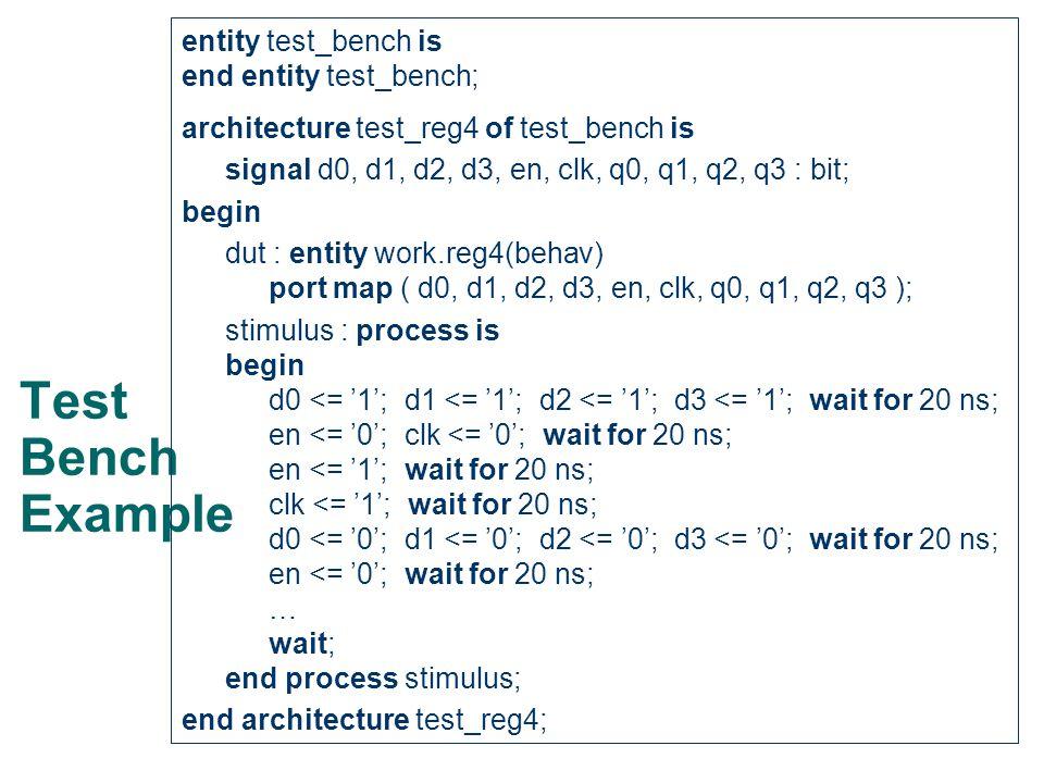 Test Bench Example entity test_bench is end entity test_bench; architecture test_reg4 of test_bench is signal d0, d1, d2, d3, en, clk, q0, q1, q2, q3