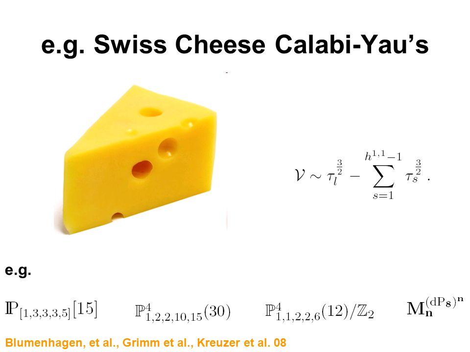 e.g. Swiss Cheese Calabi-Yau's e.g. Blumenhagen, et al., Grimm et al., Kreuzer et al. 08