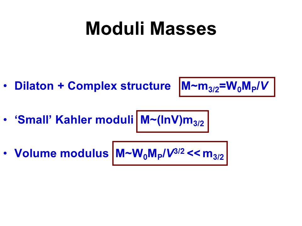 Moduli Masses Dilaton + Complex structure M~m 3/2 =W 0 M P /V 'Small' Kahler moduli M~(lnV)m 3/2 Volume modulus M~W 0 M P /V 3/2 << m 3/2