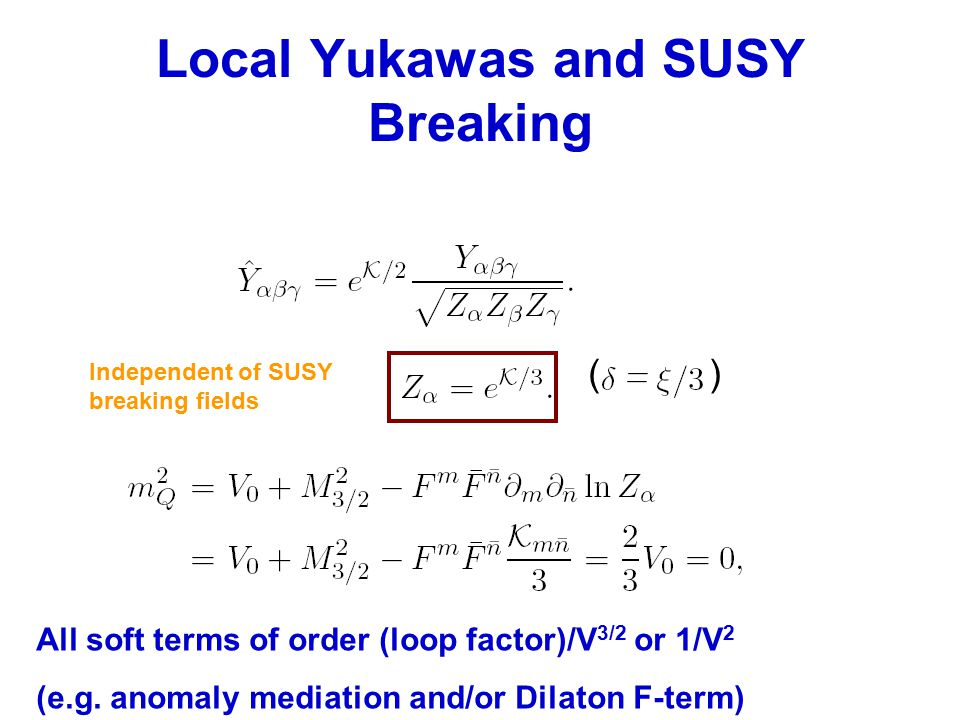 Local Yukawas and SUSY Breaking () All soft terms of order (loop factor)/V 3/2 or 1/V 2 (e.g.