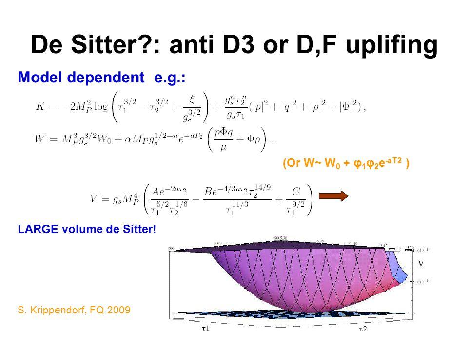 De Sitter : anti D3 or D,F uplifing (Or W~ W 0 + φ 1 φ 2 e -aT2 ) LARGE volume de Sitter.