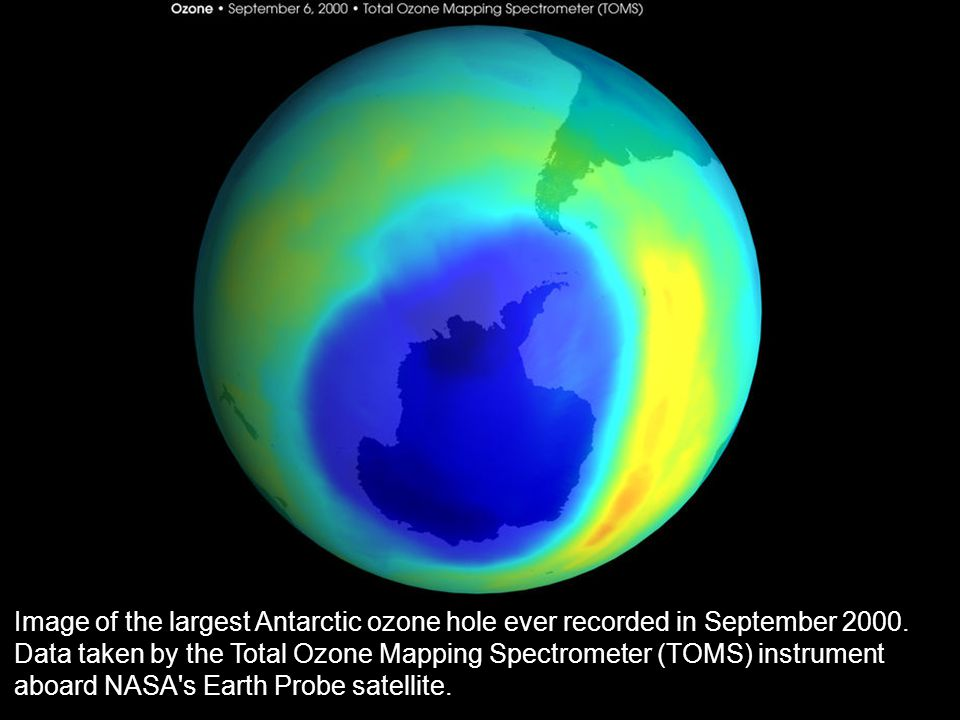Image of the largest Antarctic ozone hole ever recorded in September 2000.