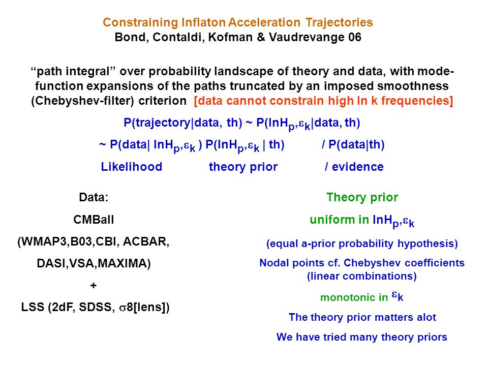 Constraining Inflaton Acceleration Trajectories Bond, Contaldi, Kofman & Vaudrevange 06 path integral over probability landscape of theory and data, with mode- function expansions of the paths truncated by an imposed smoothness (Chebyshev-filter) criterion [data cannot constrain high ln k frequencies] P(trajectory|data, th) ~ P(lnH p,  k |data, th) ~ P(data| lnH p,  k ) P(lnH p,  k | th) / P(data|th) Likelihood theory prior / evidence path integral over probability landscape of theory and data, with mode- function expansions of the paths truncated by an imposed smoothness (Chebyshev-filter) criterion [data cannot constrain high ln k frequencies] P(trajectory|data, th) ~ P(lnH p,  k |data, th) ~ P(data| lnH p,  k ) P(lnH p,  k | th) / P(data|th) Likelihood theory prior / evidence Data: CMBall (WMAP3,B03,CBI, ACBAR, DASI,VSA,MAXIMA) + LSS (2dF, SDSS,  8[lens]) Data: CMBall (WMAP3,B03,CBI, ACBAR, DASI,VSA,MAXIMA) + LSS (2dF, SDSS,  8[lens]) Theory prior uniform in lnH p,  k (equal a-prior probability hypothesis) Nodal points cf.