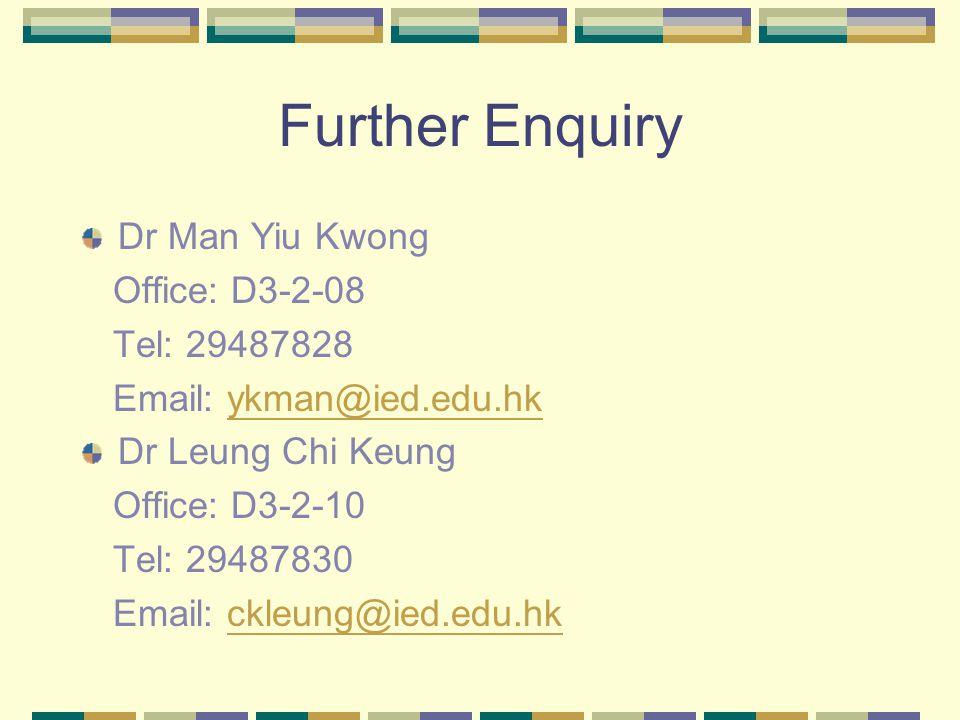 Further Enquiry Dr Man Yiu Kwong Office: D3-2-08 Tel: 29487828 Email: ykman@ied.edu.hkykman@ied.edu.hk Dr Leung Chi Keung Office: D3-2-10 Tel: 29487830 Email: ckleung@ied.edu.hkckleung@ied.edu.hk