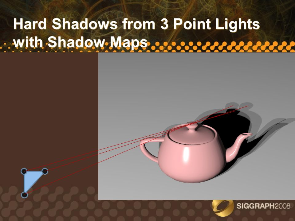 Pismo Shadow Estimation: Problem P L Problem: Estimate shadow ray PL, extending from P to arbitrary point L on area light Use the 3 shadow maps rendered from the triangle vertices, all fixated on a common focal point F