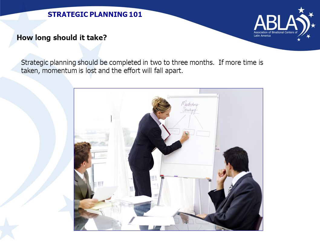 STRATEGIC PLANNING 101 Strategic planning should be completed in two to three months.