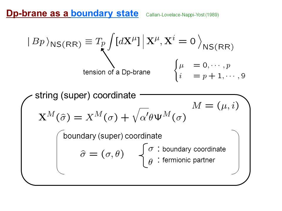 : boundary coordinate : fermionic partner Dp-brane as a boundary state boundary (super) coordinate string (super) coordinate tension of a Dp-brane Callan-Lovelace-Nappi-Yost (1989)
