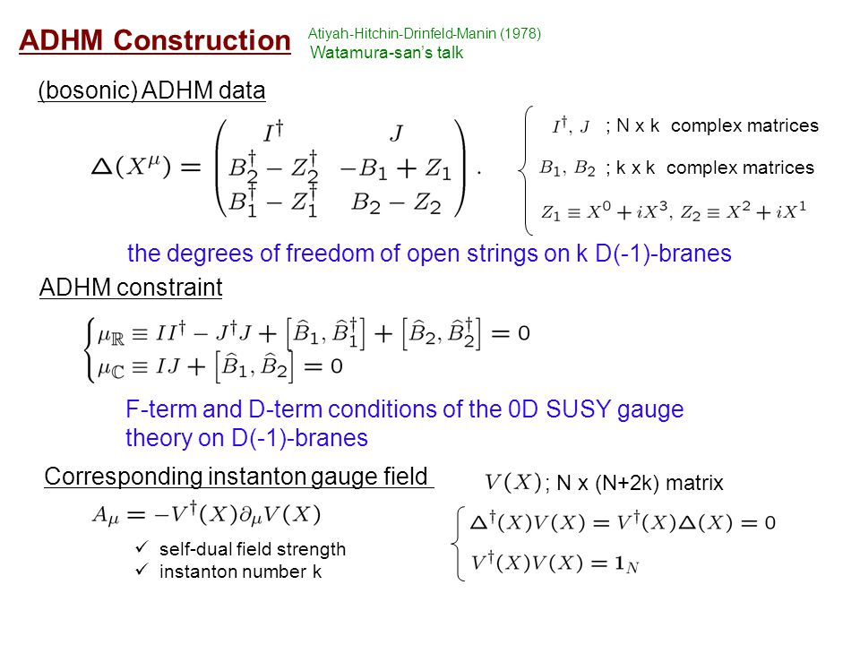 ADHM Construction (bosonic) ADHM data ; N x k complex matrices ; k x k complex matrices ADHM constraint the degrees of freedom of open strings on k D(-1)-branes F-term and D-term conditions of the 0D SUSY gauge theory on D(-1)-branes Corresponding instanton gauge field ; N x (N+2k) matrix self-dual field strength instanton number k Atiyah-Hitchin-Drinfeld-Manin (1978) Watamura-san's talk