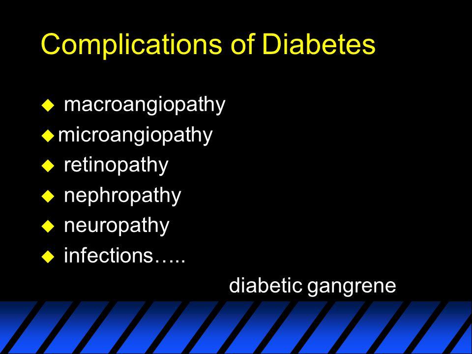 Complications of Diabetes u macroangiopathy u microangiopathy u retinopathy u nephropathy u neuropathy u infections….. diabetic gangrene
