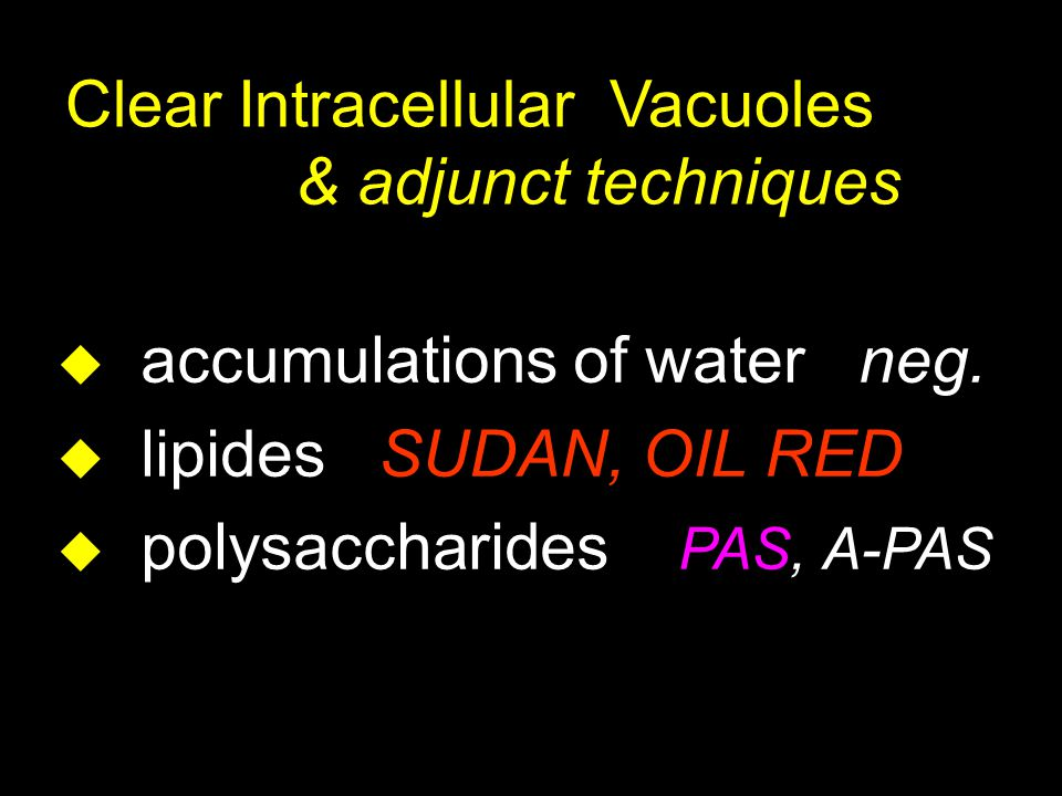 Clear Intracellular Vacuoles & adjunct techniques u accumulations of water neg.