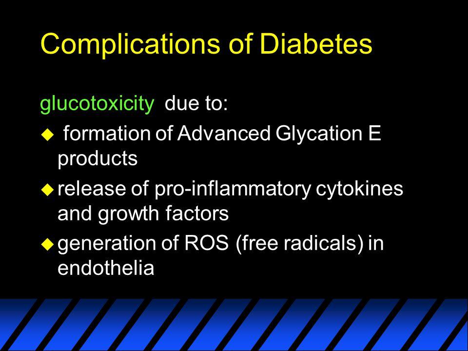 Complications of Diabetes u macroangiopathy u microangiopathy u retinopathy u nephropathy u neuropathy u infections…..