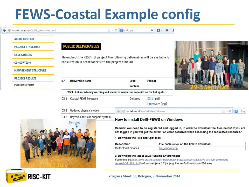 FEWS-Coastal Example config 29-3 Sept/Oct 7-11 July Progress Meeting, Bologna, 5 November 2014