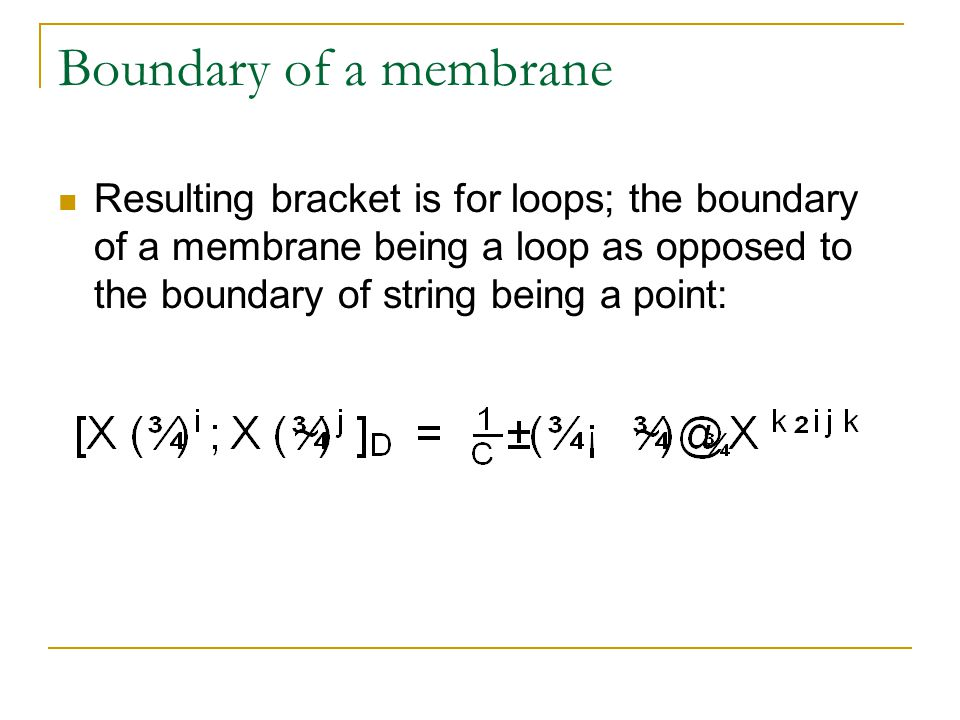 Boundary of a membrane Resulting bracket is for loops; the boundary of a membrane being a loop as opposed to the boundary of string being a point:
