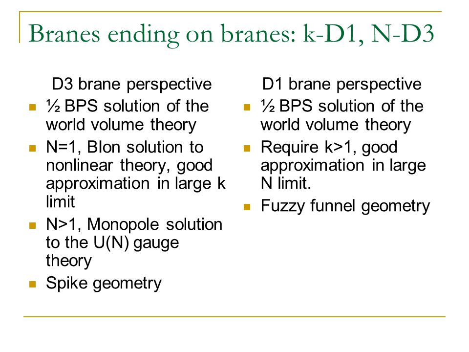 Branes ending on branes: k-D1, N-D3 D3 brane perspective ½ BPS solution of the world volume theory N=1, BIon solution to nonlinear theory, good approximation in large k limit N>1, Monopole solution to the U(N) gauge theory Spike geometry D1 brane perspective ½ BPS solution of the world volume theory Require k>1, good approximation in large N limit.