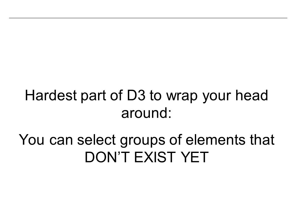 Hardest part of D3 to wrap your head around: You can select groups of elements that DON'T EXIST YET