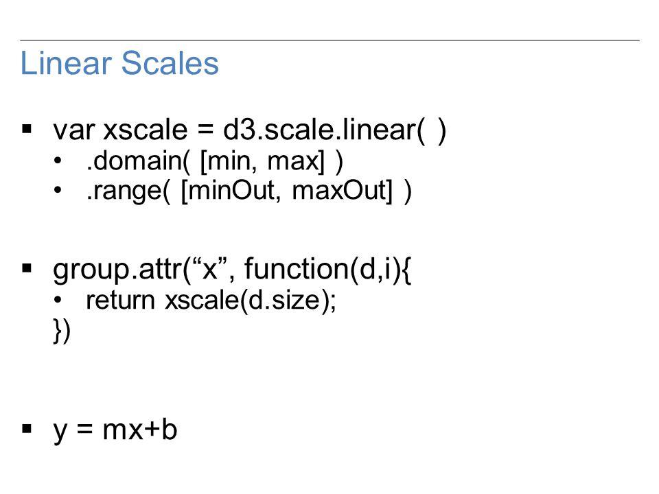Linear Scales  var xscale = d3.scale.linear( ).domain( [min, max] ).range( [minOut, maxOut] )  group.attr( x , function(d,i){ return xscale(d.size); })  y = mx+b