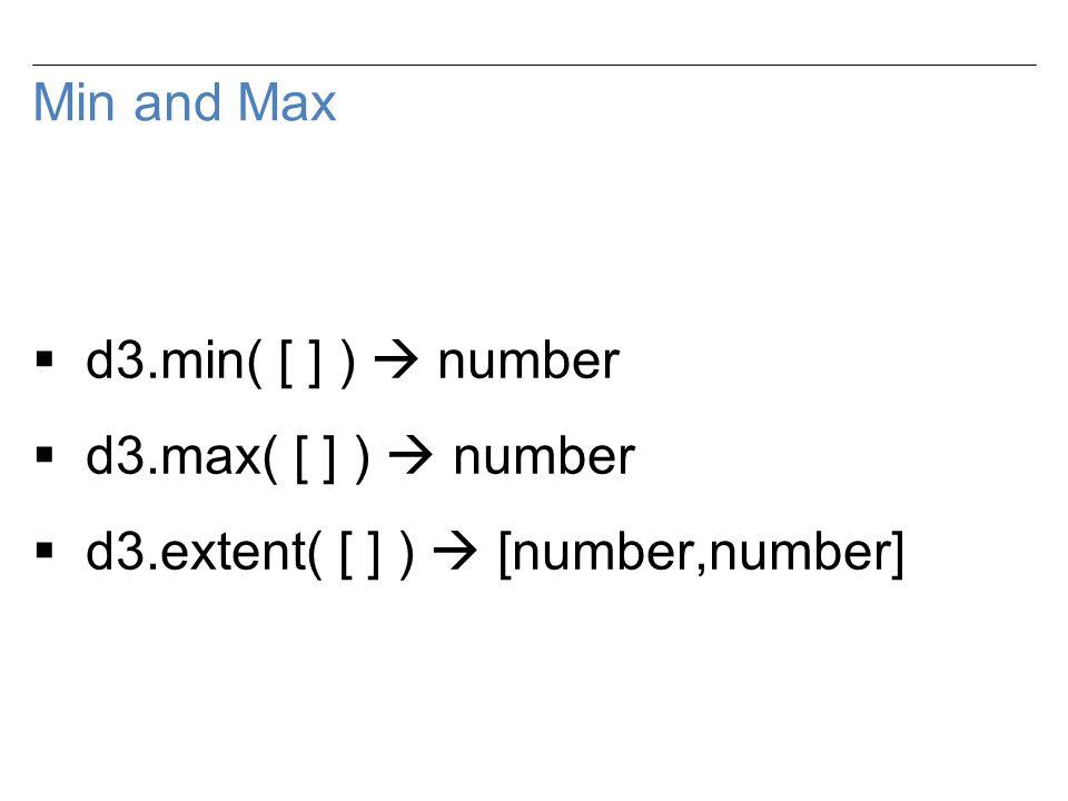 Min and Max  d3.min( [ ] )  number  d3.max( [ ] )  number  d3.extent( [ ] )  [number,number]