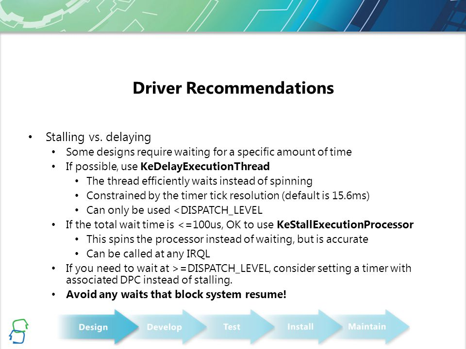 Driver Recommendations Stalling vs.