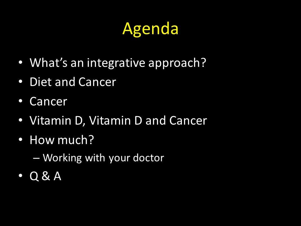 Agenda What's an integrative approach.