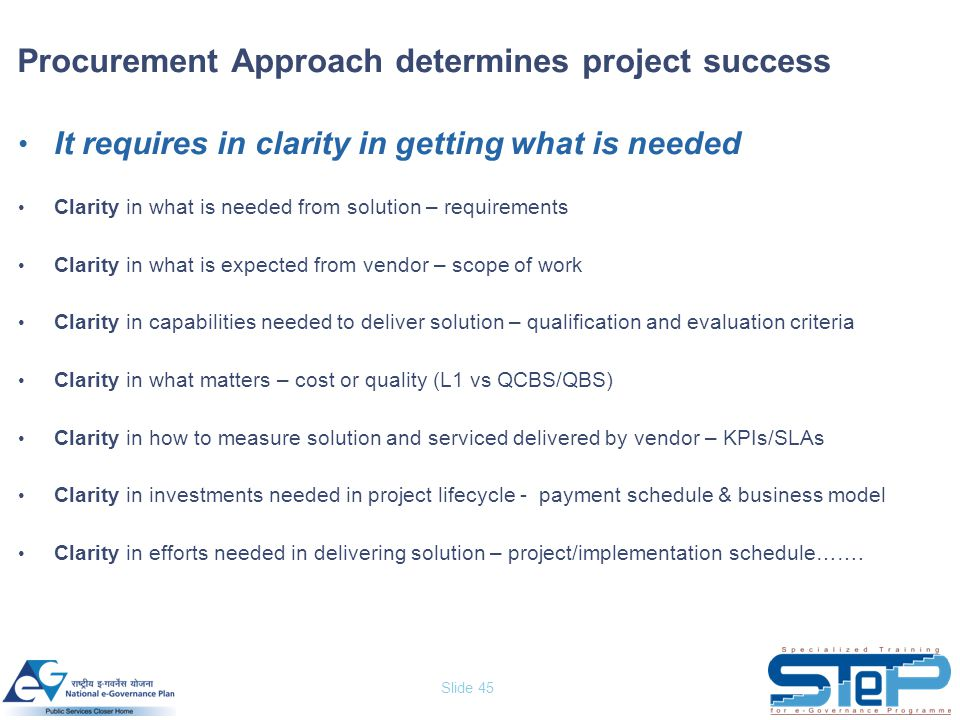 Slide 45 It requires in clarity in getting what is needed Clarity in what is needed from solution – requirements Clarity in what is expected from vend