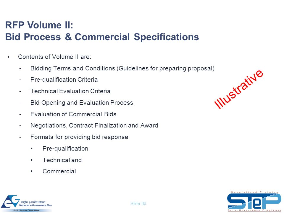 Slide 60 RFP Volume II: Bid Process & Commercial Specifications Contents of Volume II are: -Bidding Terms and Conditions (Guidelines for preparing pro