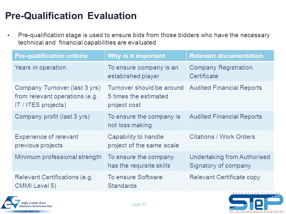 Slide 63 Pre-Qualification Evaluation Pre-qualification stage is used to ensure bids from those bidders who have the necessary technical and financial