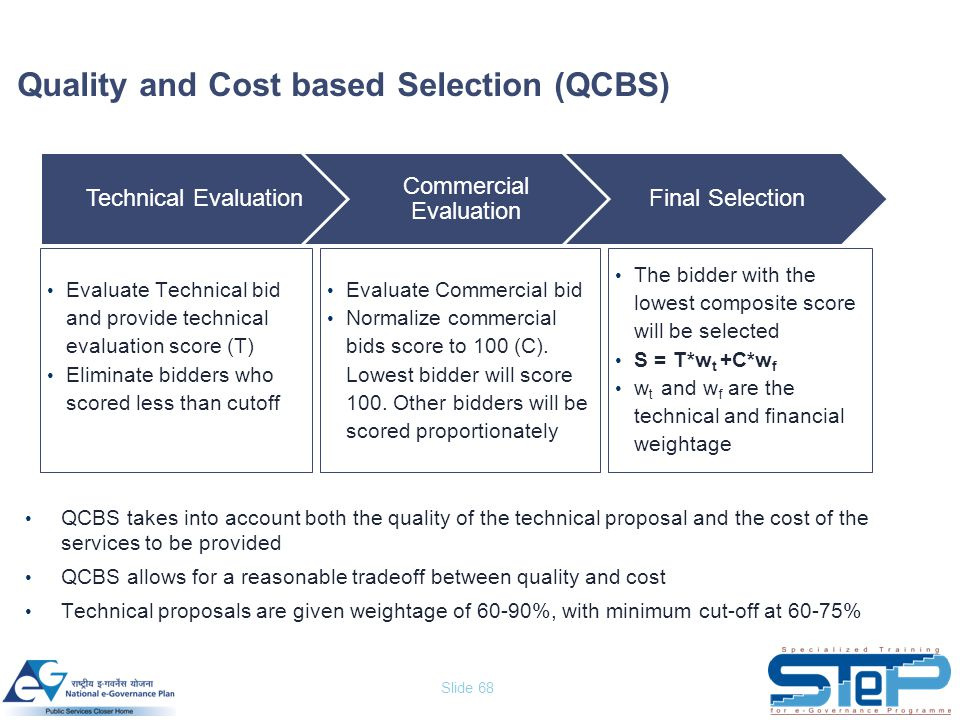 Slide 68 Quality and Cost based Selection (QCBS) QCBS takes into account both the quality of the technical proposal and the cost of the services to be