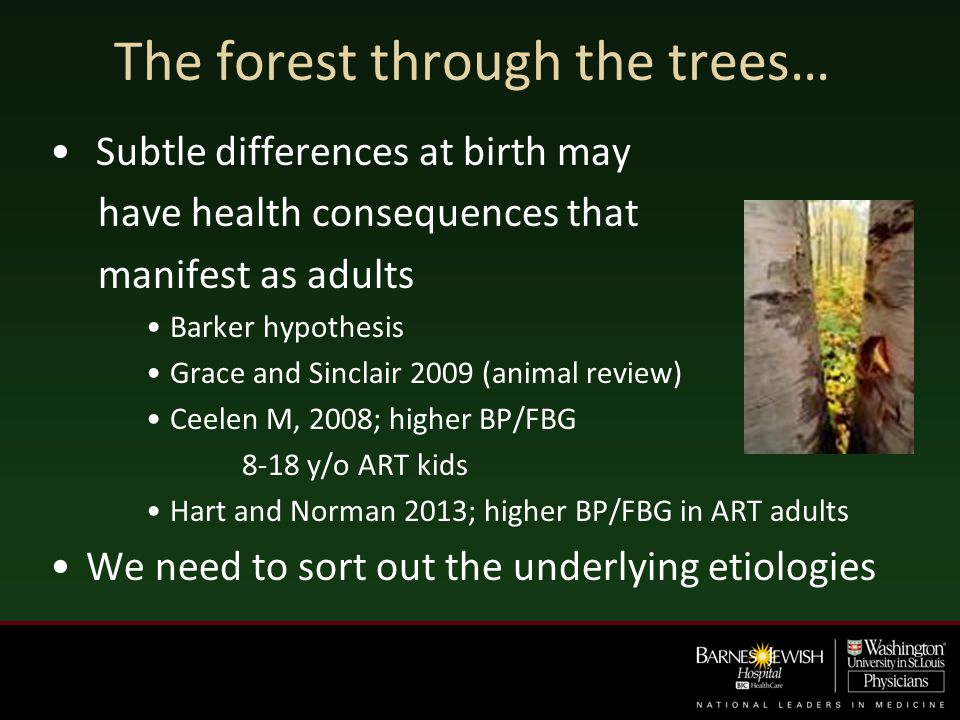 The forest through the trees… Subtle differences at birth may have health consequences that manifest as adults Barker hypothesis Grace and Sinclair 20